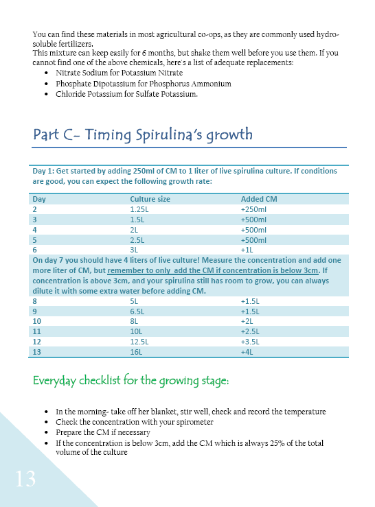 page 13 of be the medicine- a guide to growing organic spirulina at home