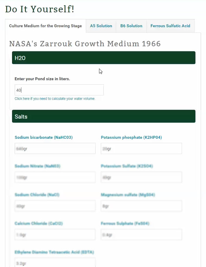 Nutrients Used In Nasa's Original Growth Medium