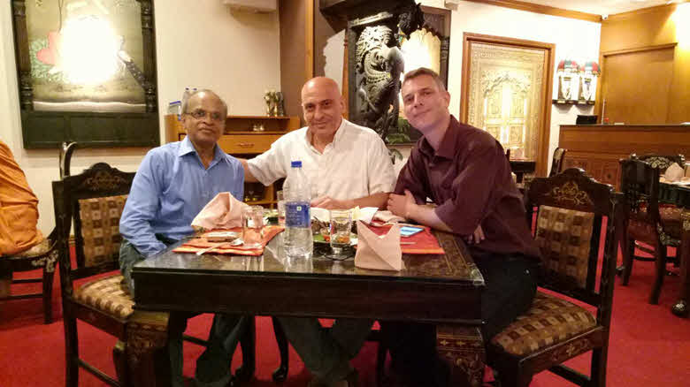 With Siva Subramanian From left to right: Dr. Siva Subramanian, Dov Lev Ary and Natan Gammer at a lovely authentic restaurant in Chennai